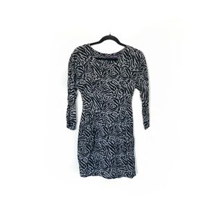 Mirror/Dash Animal Print Long Sleeve Fitted Dress